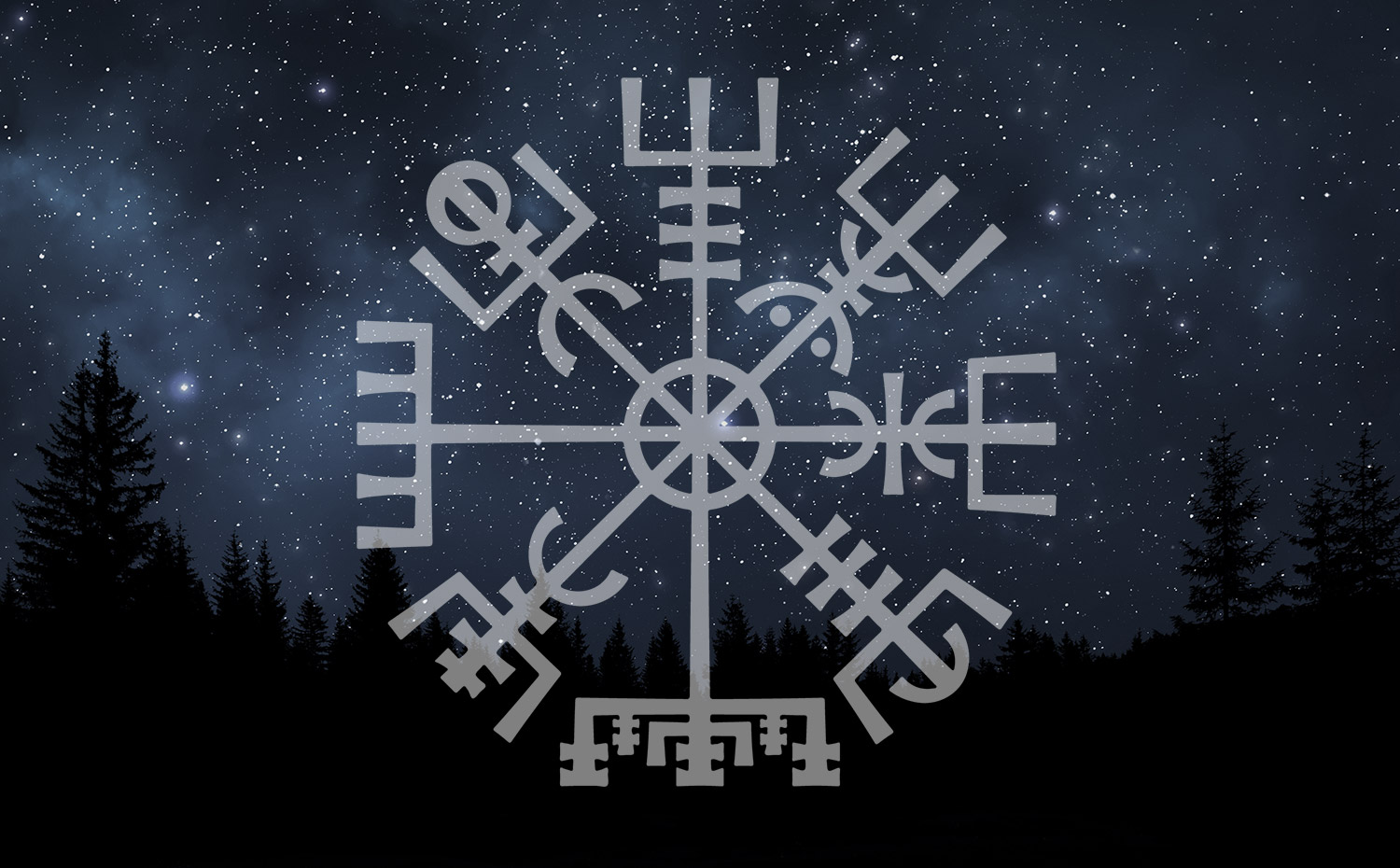 night sky vegvisir viking compass overlay