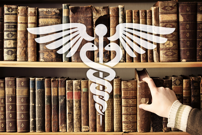 medical library bookshelf